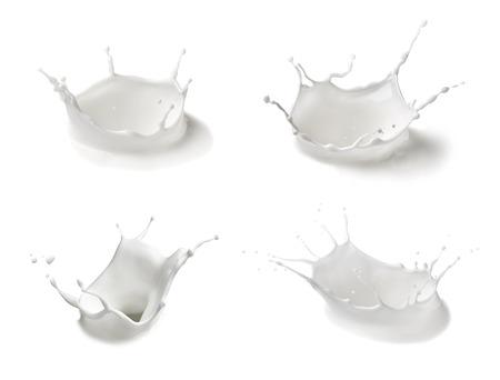 Photo pour collection of  various milk splashes on white background - image libre de droit