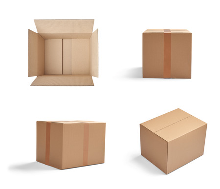 Foto de collection of  various cardboard boxes on white background - Imagen libre de derechos