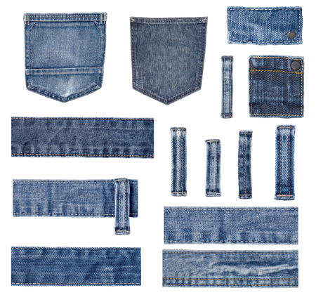 Photo for collection of various  jeans parts on white background. each one is shot separately. - Royalty Free Image