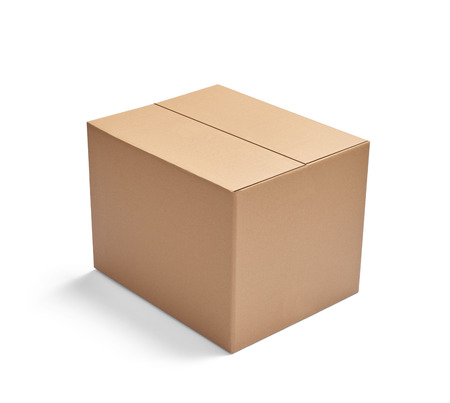 Photo pour close up of  a cardboard box on white background - image libre de droit