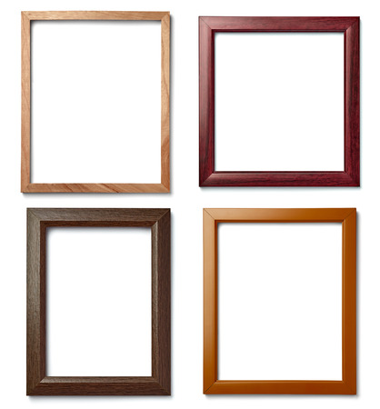 Photo for collection of  various vintage wood frame on white background - Royalty Free Image