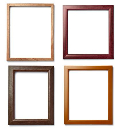 Photo pour collection of  various vintage wood frame on white background - image libre de droit