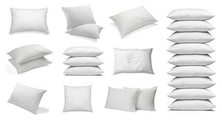 Photo pour collection of various white pillows on white background. each one is shot separately - image libre de droit
