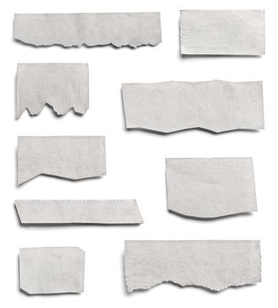 Foto de collection of various pieces of news paper on white background. each one is shot separately - Imagen libre de derechos