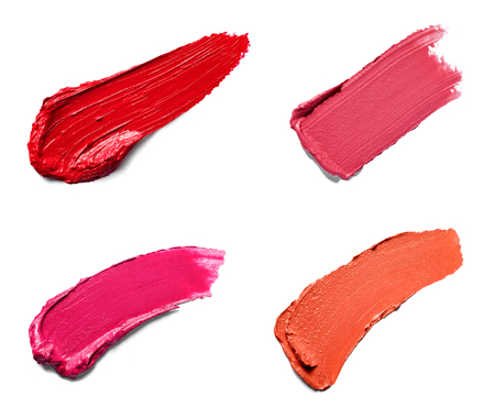Photo pour collection of various lipstick paint on white background. each one is shot separately - image libre de droit