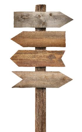 Foto de close up of a wooden sign on white background - Imagen libre de derechos