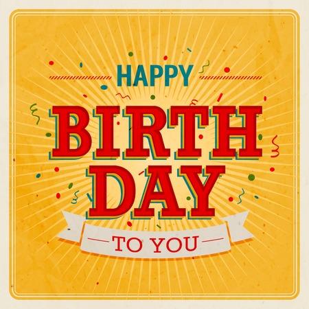 Vintage card - Happy birthday. Vector illustration.