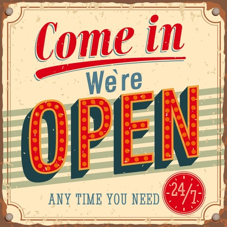 Foto de Vintage card - Come in we're open. VEctor illustration. - Imagen libre de derechos