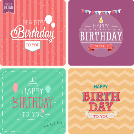 Illustration pour Vintage card - Happy birthday set. Vector illustration. - image libre de droit