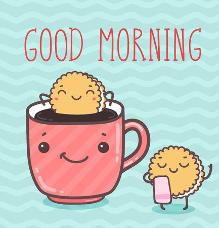 Illustration for Vector hand draw illustration - good morning. - Royalty Free Image