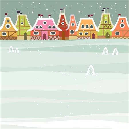 Illustration for Winter background with cute city - Royalty Free Image