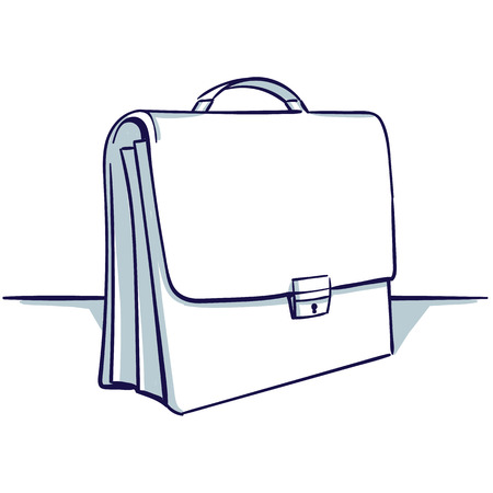 Illustration for Suitcase isolated on the white background. View under the foreshortening. Hand drawn doodle cartoon vector illustration.  - Royalty Free Image
