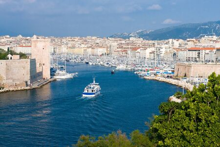 Panoramic view of Old Port of Marseille, France