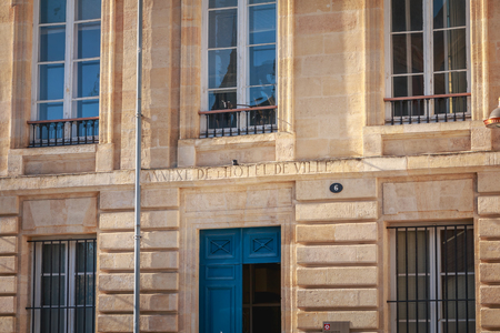 Photo pour Bordeaux, France - January 26, 2018 : architectural detail of the facade of the annex of the city hall on a winter day - image libre de droit