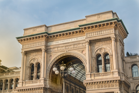 Photo pour Milan, Italy - November 2, 2017: Architectural detail of the Galleria Vittorio Emanuele II on a fall day. A prestigious shopping gallery located near Milan Cathedral, built by architect Giuseppe Mengoni from 1867 to 1878 - image libre de droit