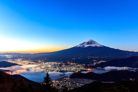 Aerial view of Mt. Fuji and Kawaguchiko, Japan.