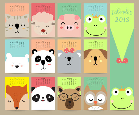 Illustration for Colorful pastel monthly calendar 2018 with cat,sheep,pig,frog,bear,panda,dog,fox and owl.Can be used for web,banner,poster,label and printable - Royalty Free Image