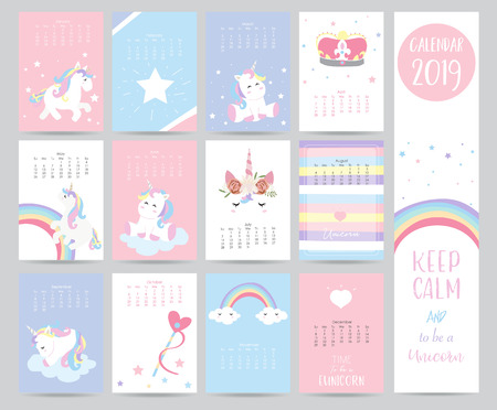 Illustration for Cute monthly calendar 2019 with sweet unicorn,crown,heart and wreath for children.Can be used for web,banner,poster,label and printable - Royalty Free Image