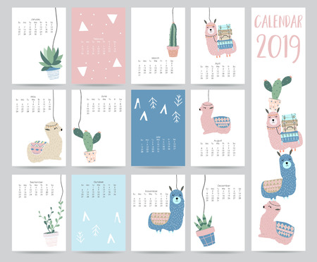 Illustration for Cute monthly calendar 2019 with llama,luggage,cactus,geometrical for children.Can be used for web,banner,poster,label and printable - Royalty Free Image
