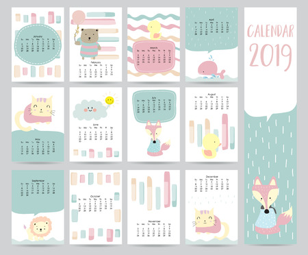 Illustration for Cute monthly calendar 2019 with bear,cat,fox,whale,cat and lion for children.Can be used for web,banner,poster,label and printable - Royalty Free Image
