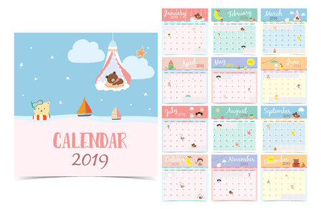 Ilustración de Cute monthly calendar 2019 with bear,girl,rabbit,monkey,sheep,star,cloud,moon and balloon.Can be used for web,banner,poster,label and printable - Imagen libre de derechos