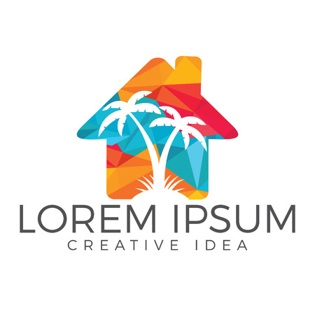 Illustration pour Vector house and palm tree logo. Beach house logo design. - image libre de droit