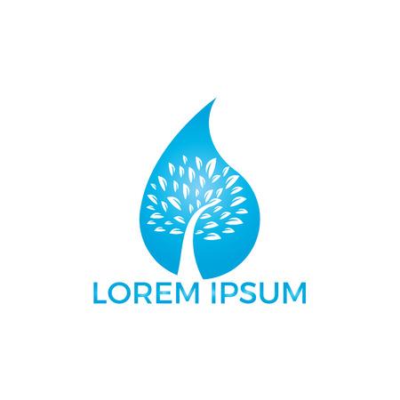 Illustration pour Water drop with tree icon vector logo design. Logo of energy. Renewable green energy logo design template. Nature tech sign. - image libre de droit