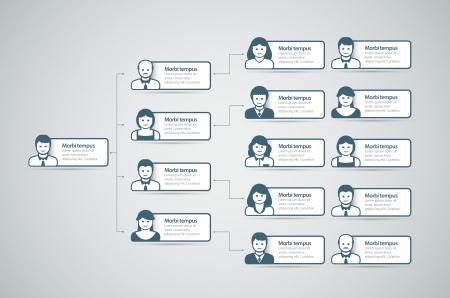 Ilustración de Corporate organization chart with business people icons  Vector illustration   - Imagen libre de derechos