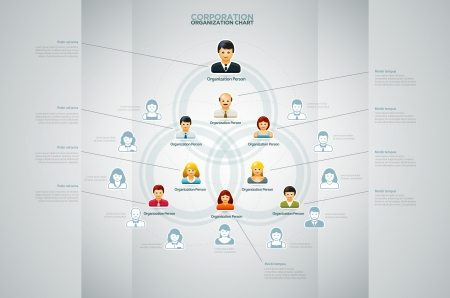 Illustration for Corporate organization chart with business people icons  Vector illustration   - Royalty Free Image