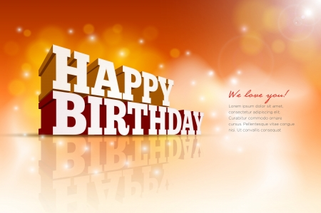 Illustration pour Vector 3d Happy Birthday message text   - image libre de droit