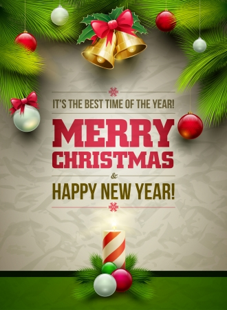Photo for Vector Christmas Messagez and objects on wrinkled paper background. Elements are layered separately in vector file. - Royalty Free Image
