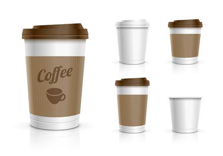 Illustration pour Disposable coffee cups collection - image libre de droit