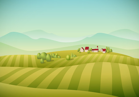 Illustration pour Vector illustration of little village landscape with fields. - image libre de droit