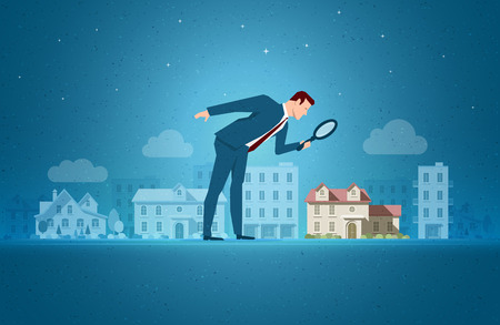 Ilustración de Business concept vector illustration. Investing, real estate, investment opportunity concept. Elements are layered separately in vector file. - Imagen libre de derechos