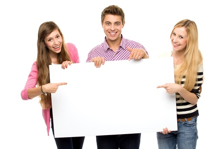 Photo for Friends holding blank poster - Royalty Free Image