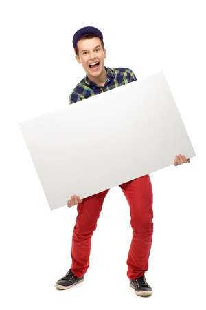 Photo for Teenager holding blank poster - Royalty Free Image