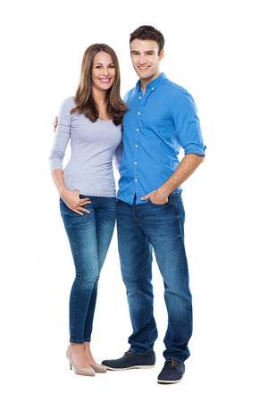 Photo pour Young couple standing - image libre de droit
