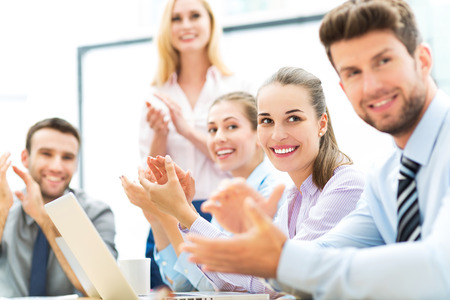 Photo for Business team clapping in applause - Royalty Free Image