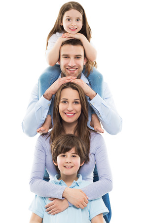 Photo pour Happy family with two kids - image libre de droit