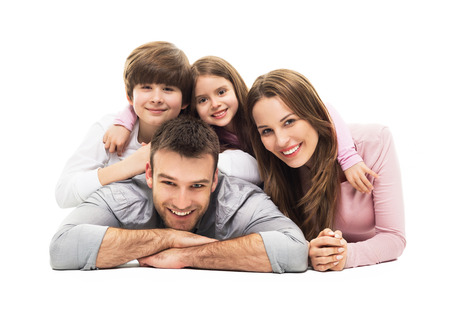 Photo pour Young family with two kids - image libre de droit