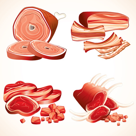 Set of vector Meat illustrations- Ham,Gammon, Bacon, Raw Ribs, Steaks (only gradients used, all elements separated and groupped))