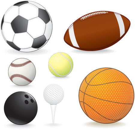Collection of vector sport balls: soccer, football, baseball, tennis, bowling, golf, basketball