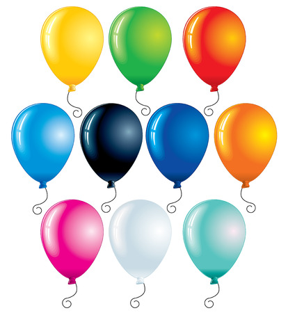 Colored balloons isolated on white - vector illustration