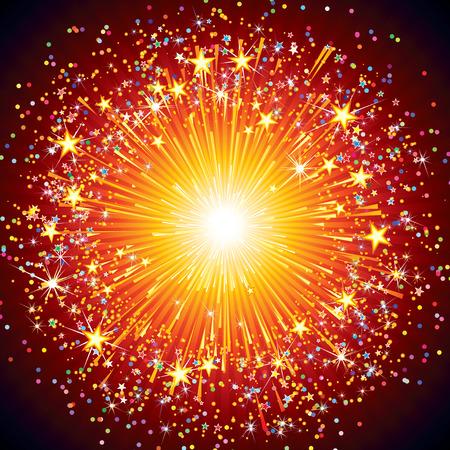 Illustration pour Abstract festive fireworks explosion over black background - image libre de droit