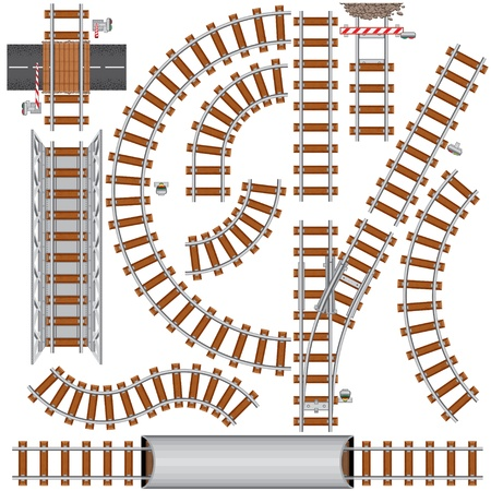 Railroad isolated elements for create your own railway siding. Detailed vector illustration include: train bridge, railroad signal, railway crossing, rail sections, junction...