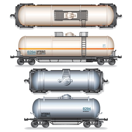 Railroad Gasoline and Oil Tank Set  Detailed Vector Illustration