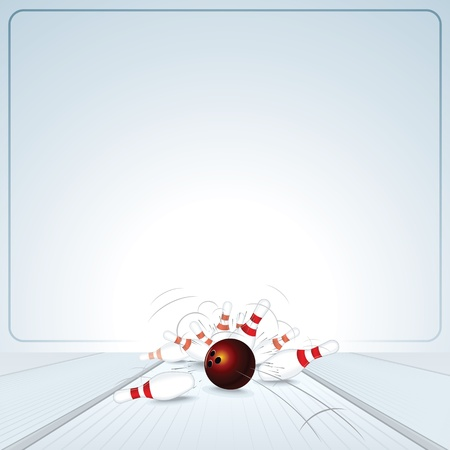 Bowling Strike  Ball Crashing into the Skittles