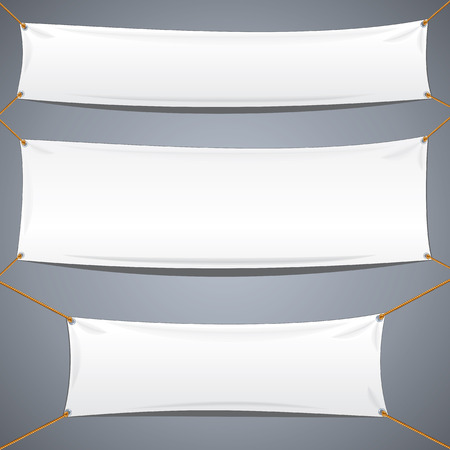 Ilustración de White Textile Banners. Vector Template Ready for Your Text and Design. - Imagen libre de derechos