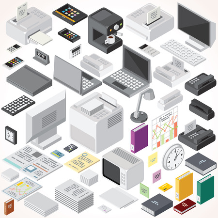 Illustration for Isometric Office Equipments and Interior Items. Vector Collection. Set of Electronic Equipments, Workplace Supplies, Computers and Devices etc. - Royalty Free Image