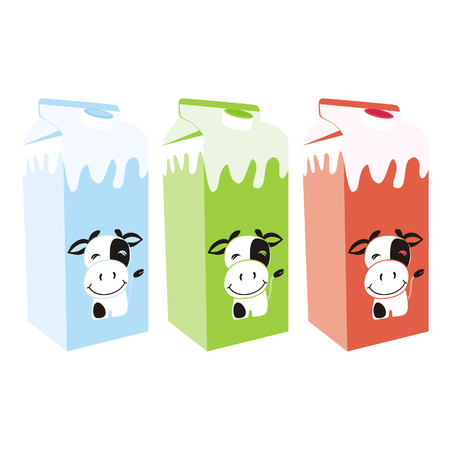 Vector illustration of isolated milk carton boxes